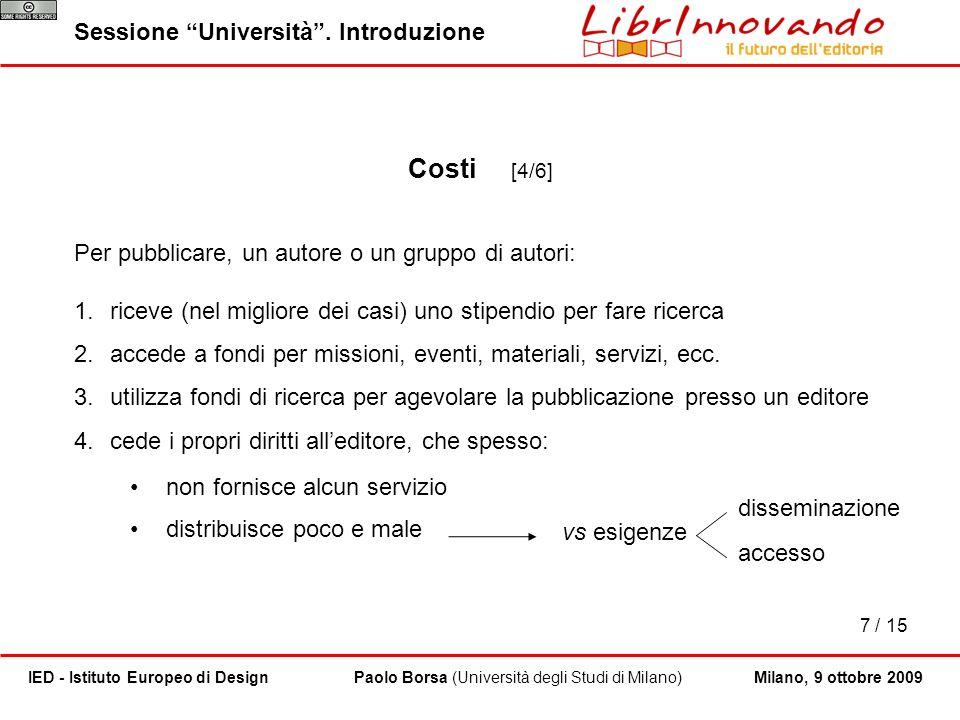 Costi [4/6] Sessione Università . Introduzione
